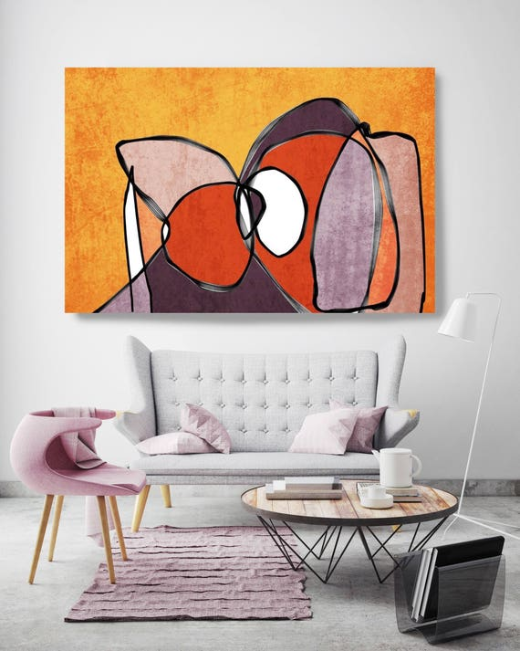 "Vibrant Colorful Abstract-53-1. Mid-Century Modern Red Orange Canvas Art Print, Mid Century Modern Canvas Art Print up to 72"" by Irena Orlov"