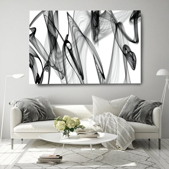 Black and White Canvas Print, Abstract Large Wall Art, Office Decor Minimalist Canvas Art, Black and White Textured Painting, The present