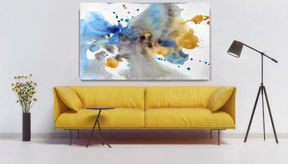 "ORL-7965 Awakening. Watercolor Abstract, Modern Wall Decor, Large Abstract Colorful Contemporary Canvas Art Print up to 72"" by Irena Orlov"