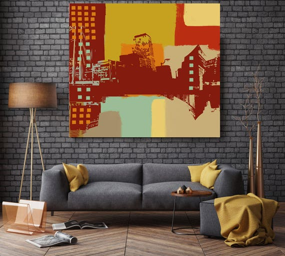 """Cosmopolitan and modern city, Large Architectural Cityscape Canvas Art Print. Rustic Brown URBAN Canvas Art Print up to 48"""" by Irena Orlov"""