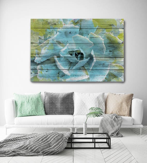 Frosted Green Succulent.  Blue Green Succulent Canvas Art Print, Succulent Painted on Wood Plank Extra Large Canvas Art Print up to 72""
