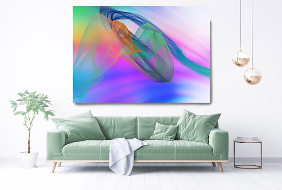 Vibrant Contemporary Wall Art Colorful Office Decoration Vibrant Wall Art Electric Canvas Print Home Decor, New Media, Color in the Lines 69
