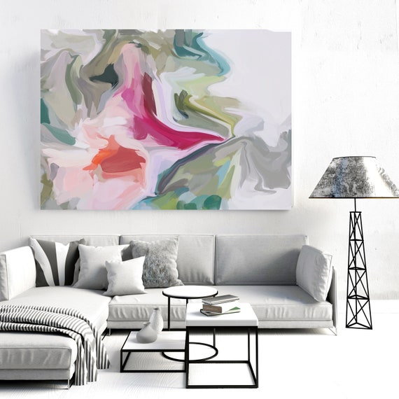 A pathway to greater peace, Green Pink Green Painting, Abstract painting, Acrylic fluid painting original, Canvas Art Print, Irena Orlov