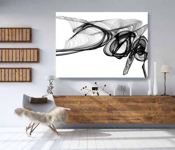 """Abstract Black White New Media Painting on Canvas, Fight, Minimalist 68 x 46"""", Minimalist Large Abstract Painting, INVEST IN ART"""