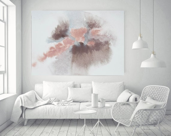 """Pink Blue Brown Grey Watercolor abstract splash 3. Pink Brown Abstract Paintings Contemporary Canvas Art Print up to 72"""" by Irena Orlov"""