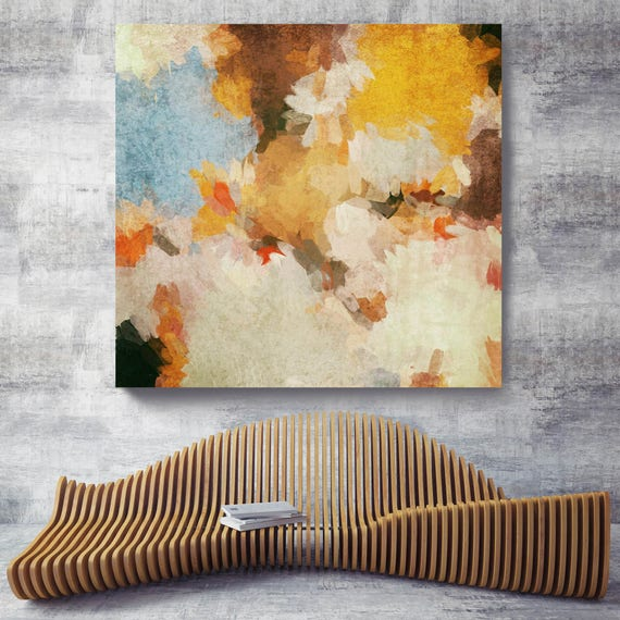 "Kaleidoscope N 8. Abstract Yellow Brown Wall Decor, Extra Large Abstract Colorful Contemporary Canvas Art Print up to 48"" by Irena Orlov"