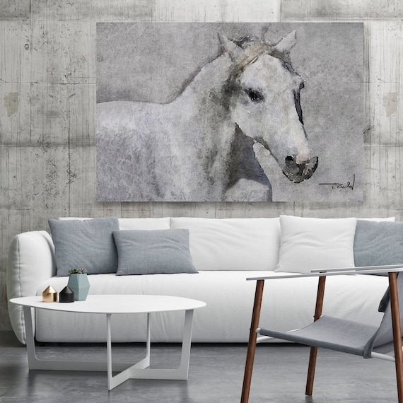 "Grey Horse Painting, Grey Elegant Horse. Grey Rustic Horse, Horse Wall Art, Equine Art, Large Canvas Art Print up to 72"" by Irena Orlov"