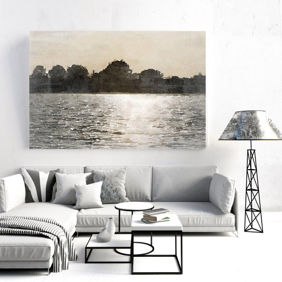 "Sunrise morning, Beach Decor, Coastal Wall Canvas Art, Grey Brown Gold, Sea Canvas Print 80"" by Irena Orlov"