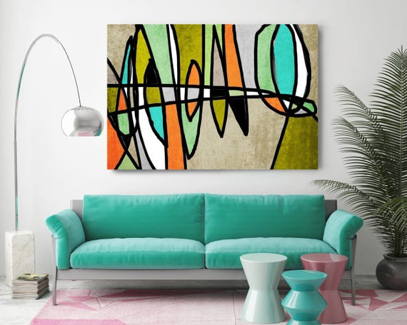 "Vibrant Colorful Abstract-0-21. Mid-Century Modern Green Blue Canvas Art Print, Mid Century Modern Canvas Art Print up to 72"" by Irena Orlov"