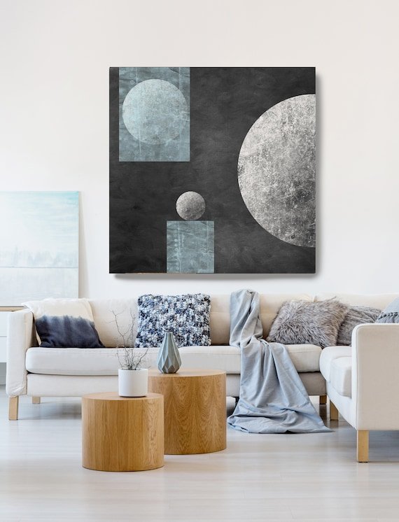 Geometry MYSTERY MOON 13, Moon Modern Art, Blue Gray Black Moon Canvas Print, Black And White, Planet Wall Art, Space Art, Moon Phases Art