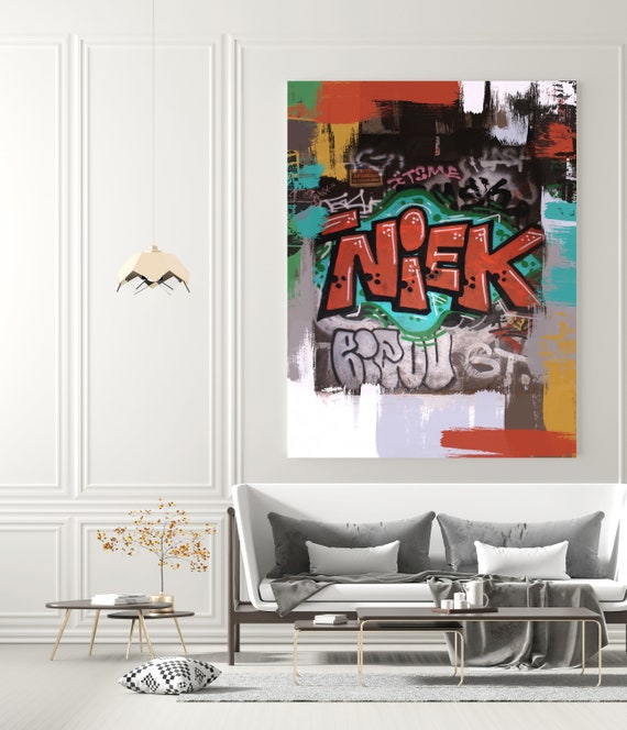 Street Art, Graffiti Wall Art Red Green Street Art Painting Print on Canvas, Large Canvas Print, Urban Canvas Print, The Message