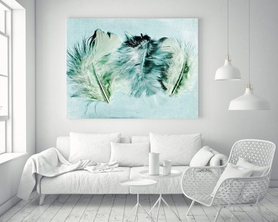 """ORL-11758 Elegant feathers in light green 3. Blue, Green Feather Photography, Extra Large Feather Canvas Art Print up to 72"""" by Irena Orlov"""