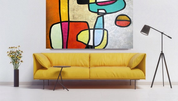 Vibrant Colorful Mid Century Modern Abstract-0-14, Contemporary Oil on Canvas, Midcentury Modern Colorful Original Painting by Irena Orlov