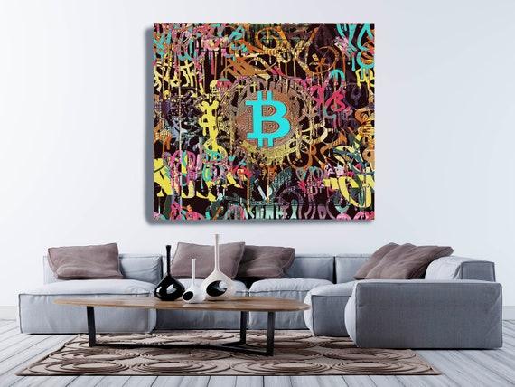 Bitcoin Cryptocurrency Graffiti Canvas Print. Bitcoin Abstract Modern Office Decor Cryptocurrency Wall Art Home Office Bitcoin Graffiti