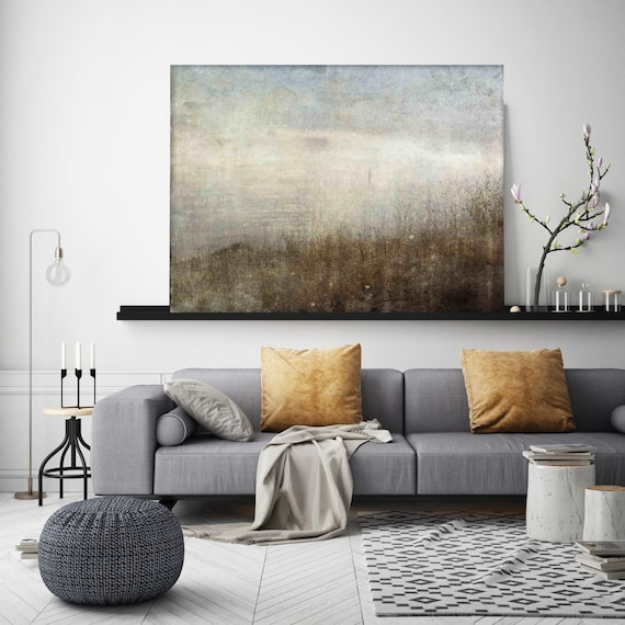 Blurred Lines. Landscape painting, landscape art, Rustic Landscape neutral colors, Vintage landscape Canvas Art Print Irena Orlov