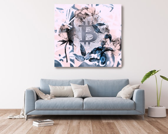 Bitcoin Blue Pink Inspiration Digital Currency Canvas Print, Cryptocurrencies Textured Art, Cryptocurrency Bitcoin Graffiti, Print on Canvas