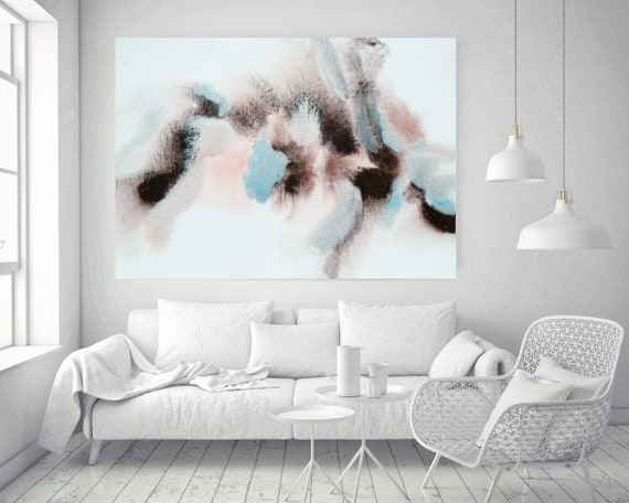 """Pink Blue Brown Grey Watercolor abstract splash 2. Pink Brown Abstract Paintings Contemporary Canvas Art Print up to 72"""" by Irena Orlov"""