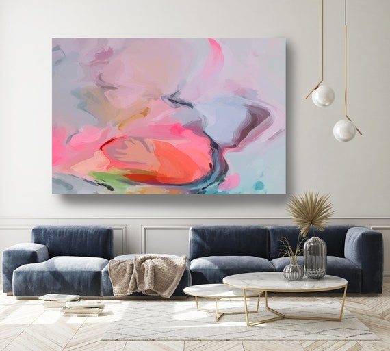 Contemporary Art Abstract Painting Print Canvas Blue Pink Abstract Art, Extra Large Canvas Print, Abstract Colorful Flows-121-25-53