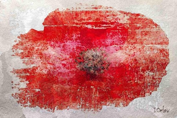 "The Majestic Poppy. Floral Painting, Red Abstract Art, Wall Decor, Abstract Colorful Contemporary Canvas Art Print up to 72"" by Irena Orlov"