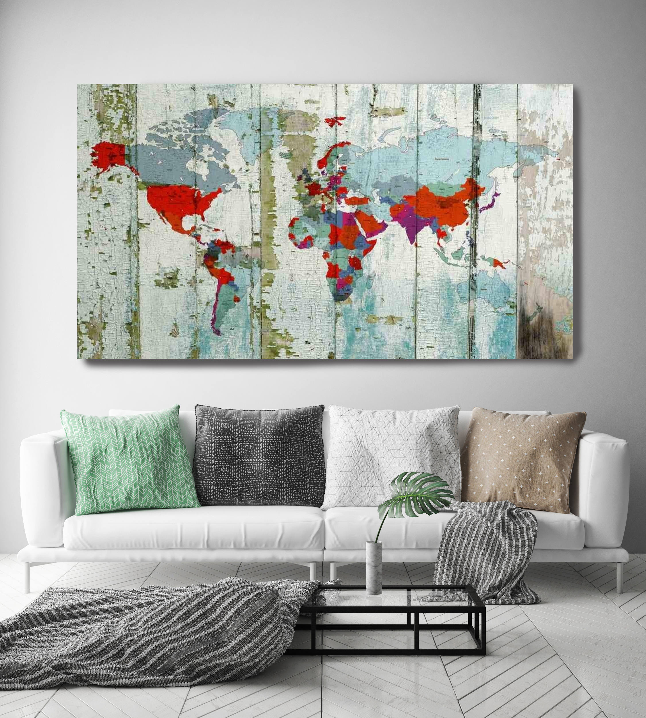World Map on wooden planks. Vintage World Map. Large Canvas ...