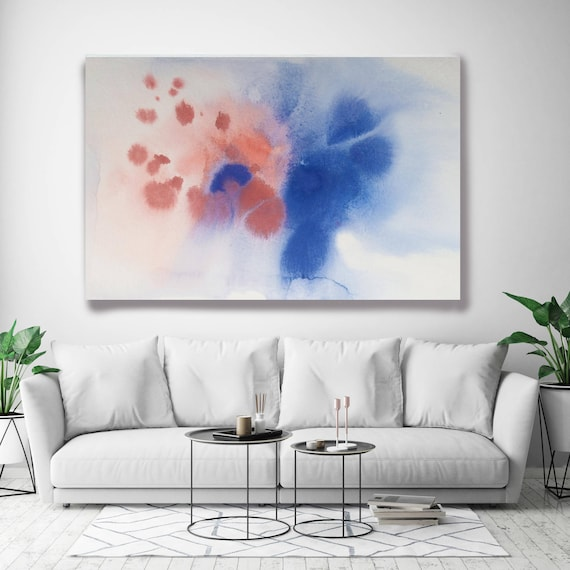 "Coastal Watercolor Abstract 83. Watercolor Abstract Blue Pink Watercolor Painting Print Canvas Art Print up to 72"" by Irena Orlov"