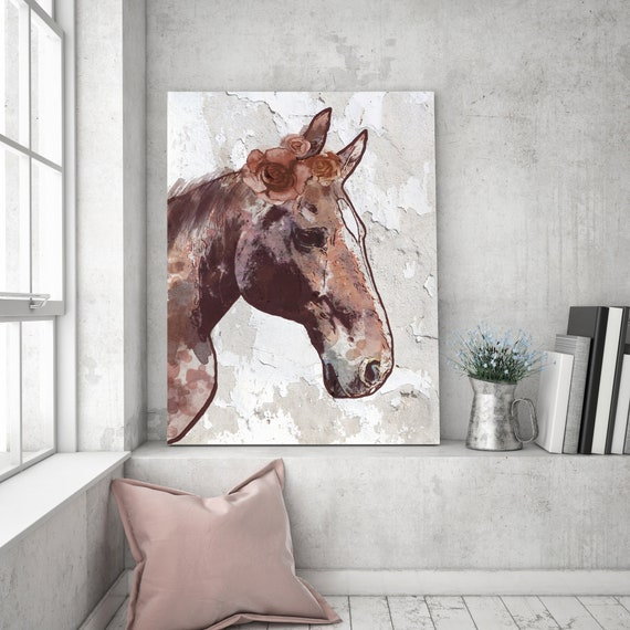 "Rosie Horse 6. Extra Large Horse, Horse Wall Decor, Brown Rustic Horse, Large Contemporary Canvas Art Print up to 72"" by Irena Orlov"