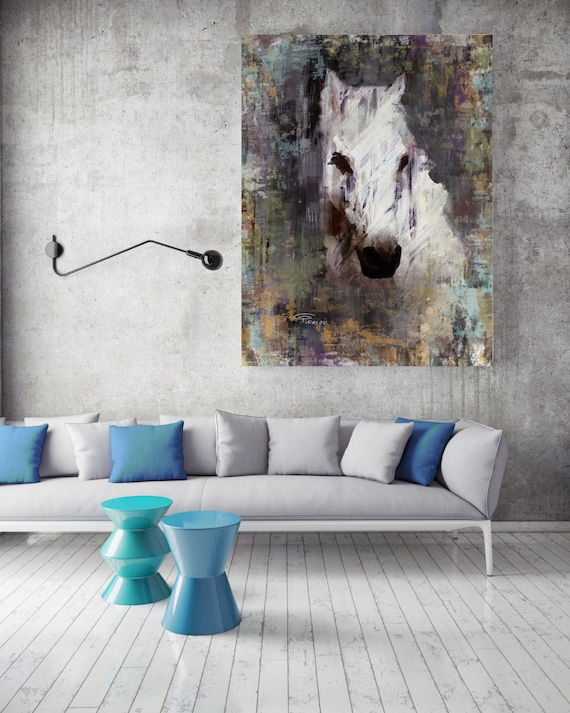 "Color Queen. Extra Large Horse, Unique Horse Wall Decor, White Rustic Horse, Large Contemporary Canvas Art Print up to 72"" by Irena Orlov"