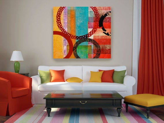 "Abstract Composition. Abstract Geometrical Red Blue Yellow Canvas Art Print up to 45"", Multicolor Abstract Wall Art Decor"