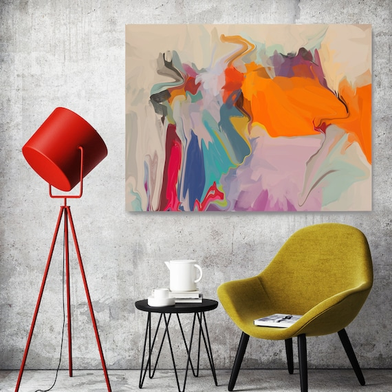 Original Art, Abstract, Canvas Print, Trending Now, Orange Pink Blue Red Painting Extra large Acrylic Painting on Canvas, Spectrum Orange 2,