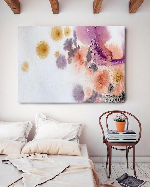 "Coastal Watercolor Abstract 64. Watercolor Abstract Pink Orange Canvas Art Print up to 72"" by Irena Orlov"