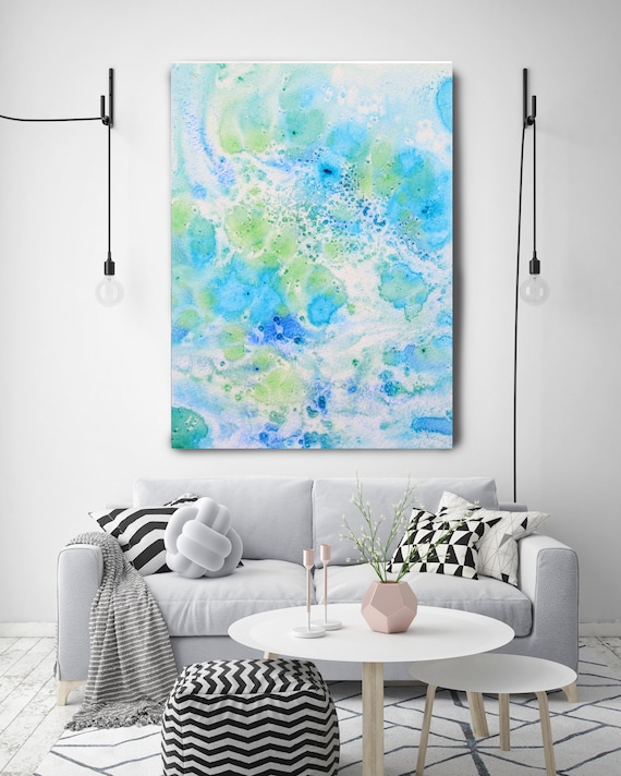 """Coastal Watercolor Abstract 111. Watercolor Abstract Blue Green Canvas Art Print, Watercolor Painting up to 72"""" by Irena Orlov"""