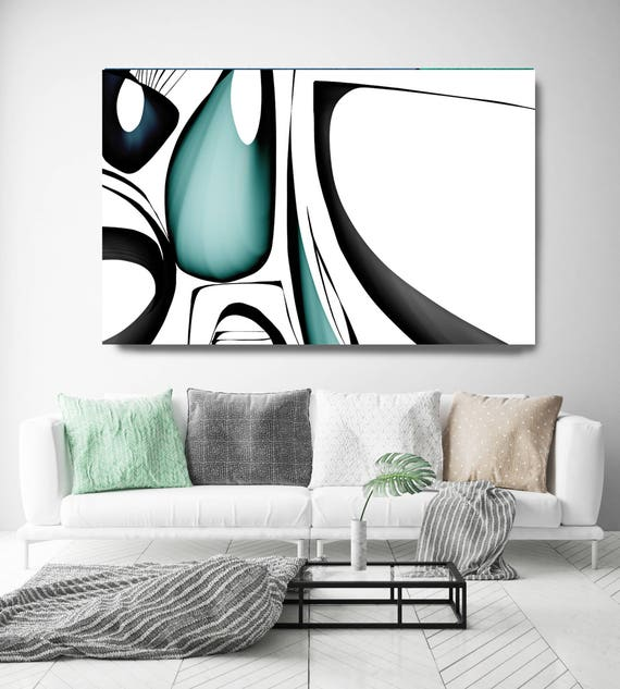 "Mid Century Abstract 1-3. Mid-Century Modern Green Black Canvas Art Print, Mid Century Modern Canvas Art Print up to 72"" by Irena Orlov"
