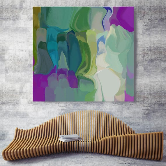 "Spring Kaleidoscope. Green Abstract Canvas Art Print, Extra Large Abstract Purple Green Canvas Art Print up to 48"" by Irena Orlov"