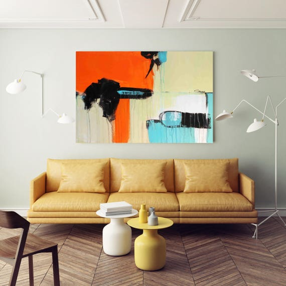 """Life on Mars. Abstract Paintings Art, Red Blue Extra Large Abstract Colorful Contemporary Canvas Art Print up to 72"""" by Irena Orlov"""