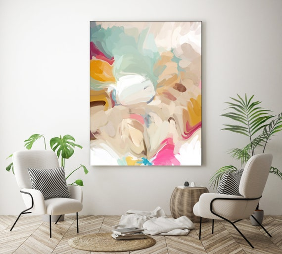 Champagne Mint Beige Abstract Painting Original Abstract Painting Canvas Painting Large Canvas Print Painting Large Wall Art