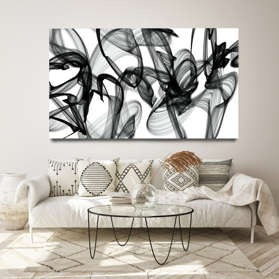 Black and White Wall Art, Home Decor Wall Art Black and White Canvas Print Abstract Print Large Wall Art, Office Decor, My Thoughts