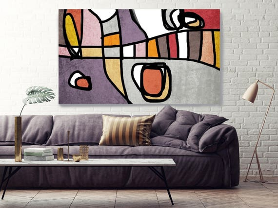 "Vibrant Colorful Abstract-0-3-1. Mid-Century Modern Purple Canvas Art Print Mid Century Modern Canvas Art Print up to 72"" by Irena Orlov"