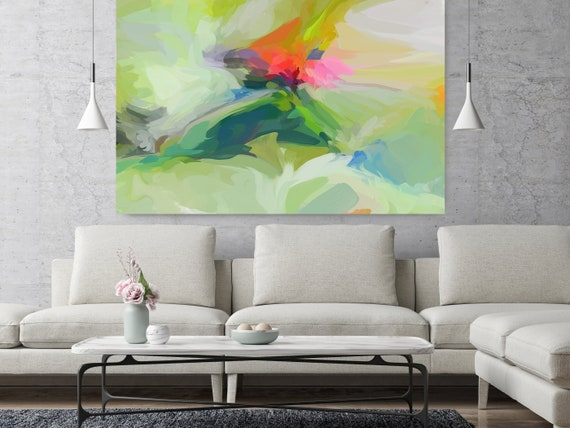 """City of Life, Green Orange Abstract painting Original Acrylic Abstract Art on Canvas, Fine Art Canvas Print Size up to 80"""" by Irena Orlov"""