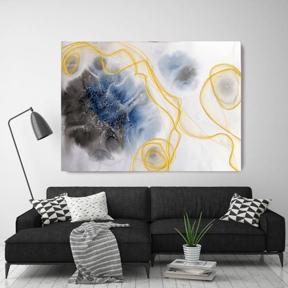 "Coastal Watercolor Abstract 80. Watercolor Abstract Blue Black Gold Canvas Art Print, Watercolor Painting Print up to 72"" by Irena Orlov"