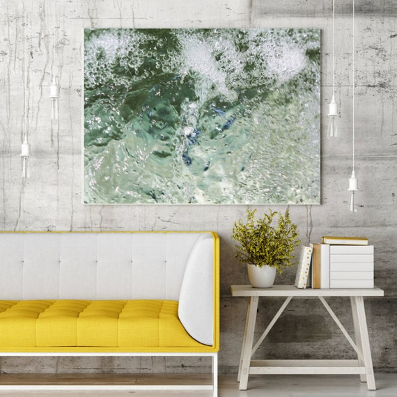 "ORL-6953-2 Crystal Clear Water 2 Extra Large Urban Abstract Water Canvas Art Print, Blue Water Abstract Wall Art up to 72"" by Irena Orlov"
