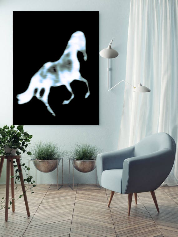 "Blur Horse 2. Extra Large Horse, Horse Wall Decor, Black Contemporary Horse, Large Contemporary Canvas Art Print up to 72"" by Irena Orlov"