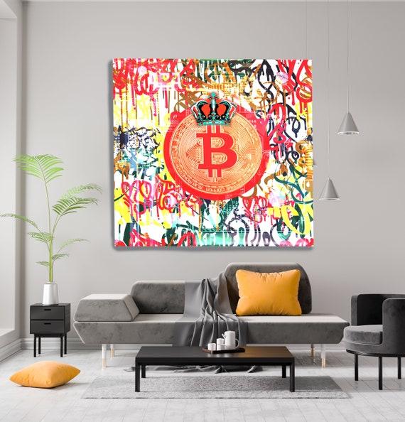 Bitcoin Colorful Graffiti Canvas Print. Bitcoin Abstract Office Decor Cryptocurrency Wall Art Home Office Bitcoin Graffiti