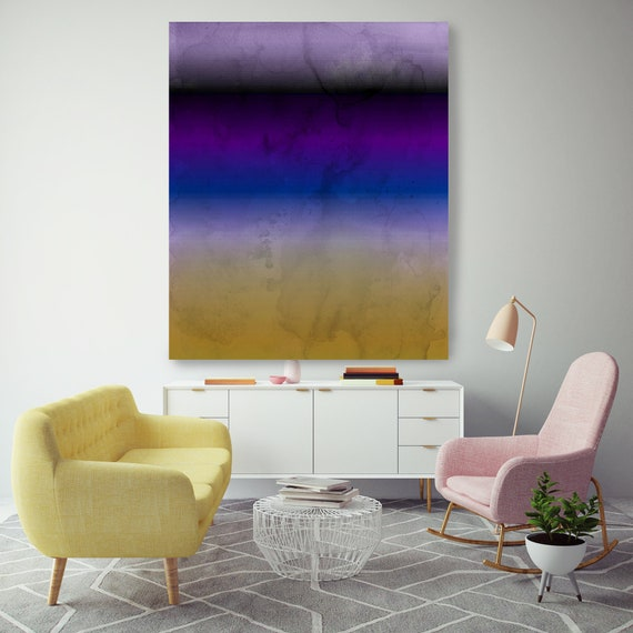 Abstract Minimalist Rothko Inspired 1-31. Abstract Painting Giclee of Original Wall Art, Purple Yellow Large Canvas Art Print up to 72""