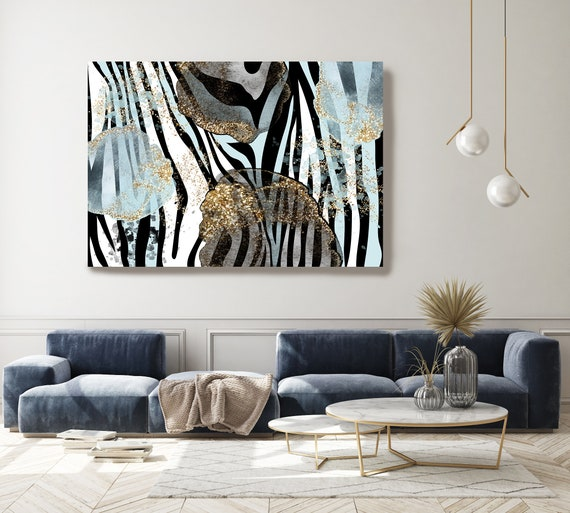 Zebra Blue Gold, Luxury Art, Glamour Light Blue Gold Leaf Abstract Art Painting Print on Canvas, Large Canvas, Abstract Zebra Canvas Print