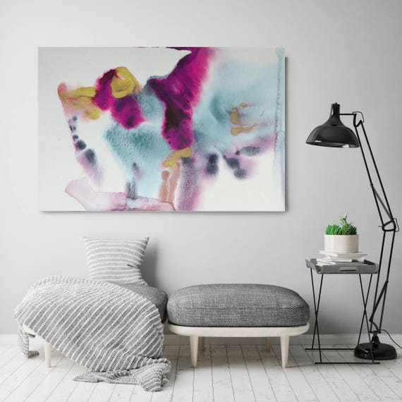 """Coastal Watercolor Abstract 53. Watercolor Abstract Blue Pink Yellow, Watercolor Painting Print Canvas Art Print up to 72"""" by Irena Orlov"""