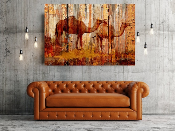 "Camels. Camel Rustic Orange Brown Canvas Art Print by Irena Orlov, Large Rustic Wood Plank Canvas Wall Art up to 60"" by Irena Orlov"