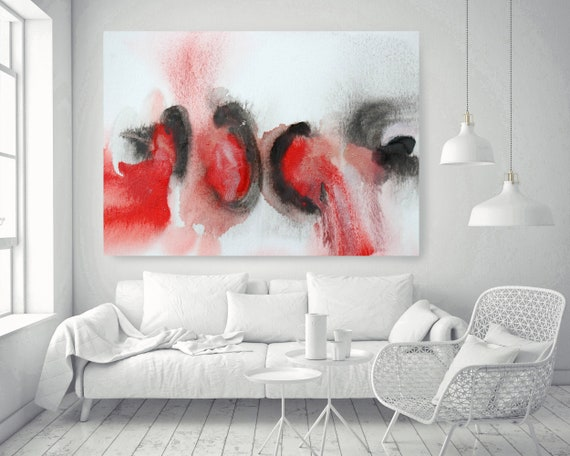 "Red Black Watercolor abstract splash 2, Watercolor Abstract, Extra Large Red Black Contemporary Canvas Art Print up to 72"" by Irena Orlov"