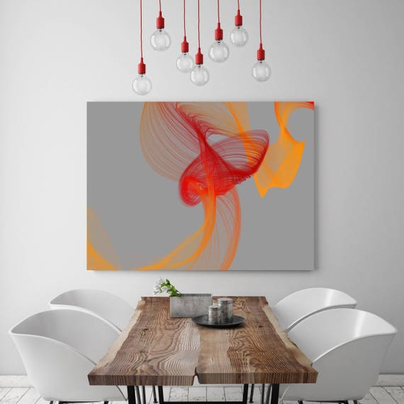 "Fire Breeze 2. Abstract Paintings Art, Wall Decor, Extra Large Abstract Gray Orange Red Contemporary Canvas Art Print up to 72"" Irena Orlov"