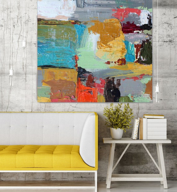 "ORL-2808 Liquid Lounge. Abstract Paintings Art, Wall Decor, Large Abstract Colorful Contemporary Canvas Art Print up to 48"" by Irena Orlov"