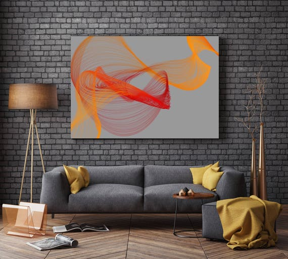 "Fire Breeze 3. Abstract Paintings Art, Wall Decor, Extra Large Abstract Gray Orange Red Contemporary Canvas Art Print up to 72"" Irena Orlov"